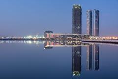Sunrise over the skyline of Dubai Design District royalty free stock photography