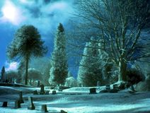 Blue Day. An infrared IR of an old cemetery. A Sylvester Stallone film was shot here. Digitally altered blue tones stock photo
