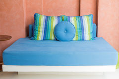 Blue daybed at terrace Royalty Free Stock Photo