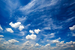Blue daylight summer sky with white clouds Stock Photo