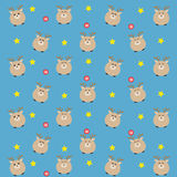 The blue dear pattern with candy and stars. Royalty Free Stock Photography