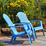 Blue Deck Chairs Royalty Free Stock Photography