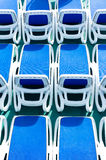 Blue deck chairs Stock Photo
