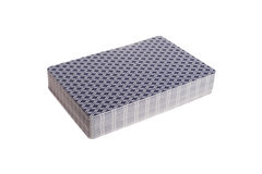 Blue deck of poker cards isolated Royalty Free Stock Photo