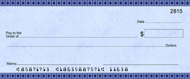 Blue Deco Check with false account numbers
