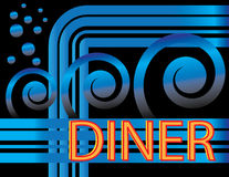 Blue Deco Diner. Details of an ornamented diner sign are featured in an abstract illustration Stock Photos
