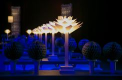 Decor with candles and lamps for corporate event or gala dinner. Blue Decor with candles and lamps for corporate event or gala dinner Stock Images