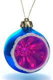 Blue decor xmas ball clipping path. Image 3d Vector Illustration