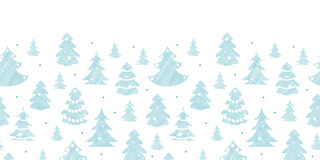Blue decorated Christmas trees silhouettes textile Stock Photo