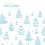Blue decorated Christmas trees silhouettes textile. Vector blue decorated Christmas trees silhouettes textile horizontal frame seamless pattern background Royalty Free Stock Photos
