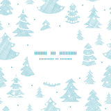 Blue decorated Christmas trees silhouettes textile Stock Photography