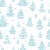 Blue decorated Christmas trees silhouettes textile Stock Image