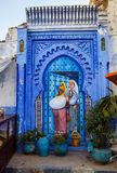 Blue decorated gates to Riyadh,Chefchaouen, Morocco Stock Photos
