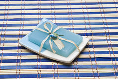 Blue decorated soap. Royalty Free Stock Photos