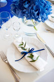Blue decorations on the wedding table Stock Image