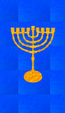Blue decorative background. Vertical format for Smart phone. Yellow candelabrum, Hanukkah on blue background. Vertical format for Smart phone. Digital Royalty Free Stock Image