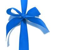 Blue decorative bow ribbon Stock Photos