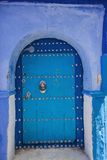 Blue decorative door to Riyadh,Chefchaouen, Morocco Royalty Free Stock Photos