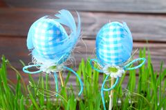 Blue decorative eggs on a background of green grass. Easter. stock images