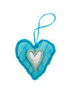 Blue  decorative fabric hearts for Valentines day. Blue decorative fabric hearts for Valentines day on an isolated background Royalty Free Stock Image