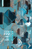 Blue decorative glass mobile. A glassy decorative mobile in blue tonality stock photos