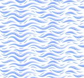 Blue decorative stylized waves vector seamless pattern. On white background stock illustration