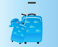 Blue Decorative Suitcase Backround Royalty Free Stock Image