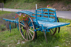 Blue Decorative wooden cart Royalty Free Stock Images