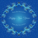 Blue deep card. For New Year Stock Photography