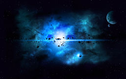 Blue Deep Space Imaginary Nebula Royalty Free Stock Images