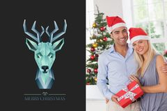 Blue Deer Design and Christmas Couple Royalty Free Stock Photo