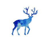 Blue deer head silhoueette. Space and deer modern poster. Cloud Royalty Free Stock Images
