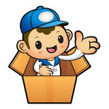 Blue Delivery Man Mascot in box the hand guide. Product and Dist Stock Images