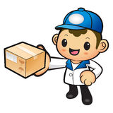 Blue Delivery Man mascot deliver box. Product and Distribution S Stock Photos