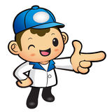 Blue Delivery Man mascot the direction of pointing. Product and Stock Photos