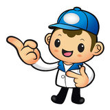 Blue Delivery Man mascot the direction of pointing. Product and Royalty Free Stock Image
