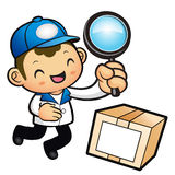 Blue Delivery Man mascot examine a with a magnifying glass. Prod Stock Image