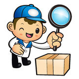 Blue Delivery Man mascot examine a with a magnifying glass. Prod Royalty Free Stock Images