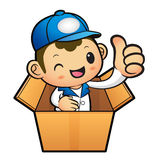 Blue Delivery Man Mascot the hand best gesture in cardboard boxe Stock Photography