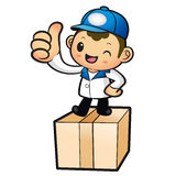 Blue Delivery Man Mascot the hand best gesture. Product and Dist Stock Photo
