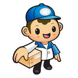 Blue Delivery Man Mascot the hand is holding a Box. Product and Royalty Free Stock Photos