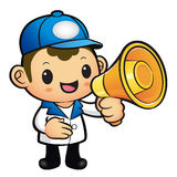 Blue Delivery Man Mascot the hand is holding a loudspeaker. Prod Royalty Free Stock Photos