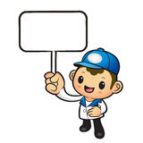 The Blue Delivery Man mascot holding a board. Product and Distri Stock Photo