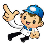 Blue Delivery Man mascot the left hand guides and the right hand Royalty Free Stock Photography