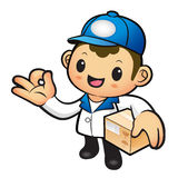 Blue Delivery Man Mascot the OK gesture. Home and Family Charact Royalty Free Stock Photo