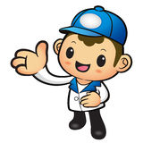 Blue Delivery Man mascot Suggests the direction. Product and Dis Stock Photo