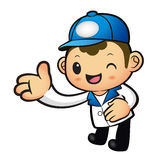 Blue Delivery Man mascot Suggests the direction. Product and Dis Royalty Free Stock Photos