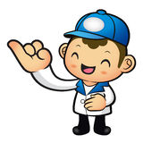 The Blue Delivery Man mascot takes the promise of a with the Lef Stock Photos