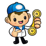 Blue Delivery Man Mascot To answer a phone call orders. Product Royalty Free Stock Images