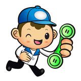 Blue Delivery Man Mascot To answer a phone call orders. Product Royalty Free Stock Image